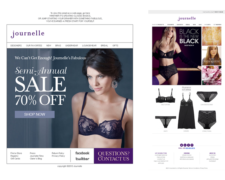 Emails. Coded for Journelle, New York. Design by Suzy Kim and Melissa Mar.